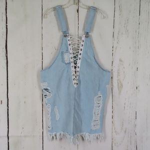 Destroyed Blue Denim Overalls Jeans Jumper Dress